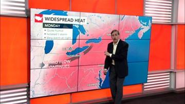 Record heat strikes East before midweek storms