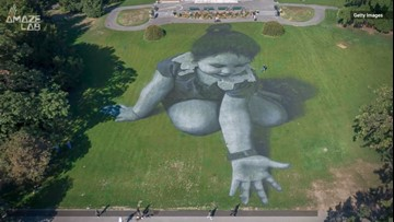 French Artist's Massive Grass Graffiti Portraits are Beyond Incredible