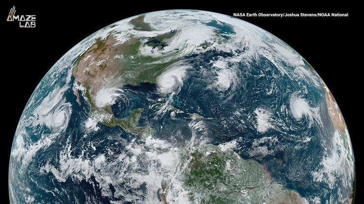 Satellite Captures Four Cyclones Lined Up Across the World