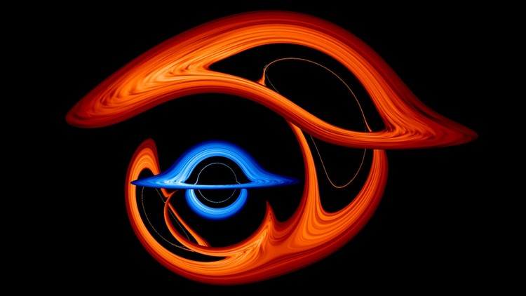 NASA Visualization Shows Pair of Black Holes in Light-Warping Dance