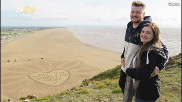 Man Hires Local Artist to Turn an Entire Beach Into a Marriage Proposal