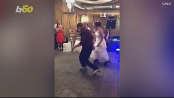 Roller Skating Bride-Dad Duo Bust a Move at Wedding Reception