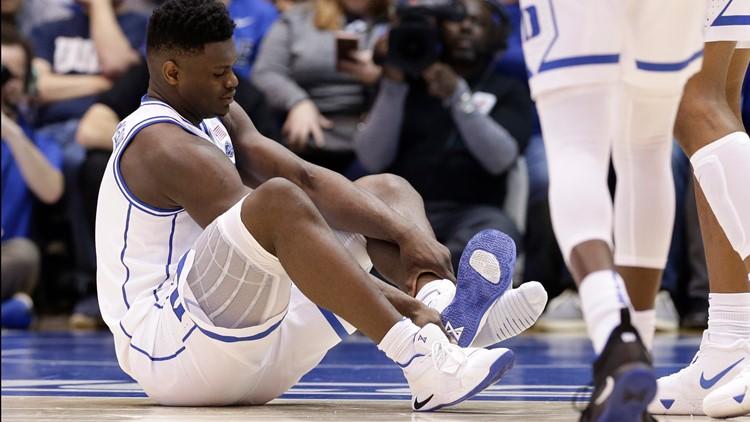 North Carolina Duke Basketball Zion Williamson shoe explodes