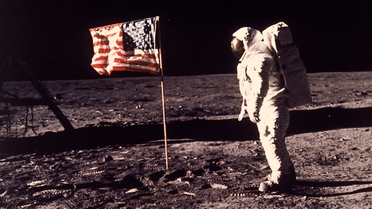 Apollo 11 Buzz Aldrin with flag on moon