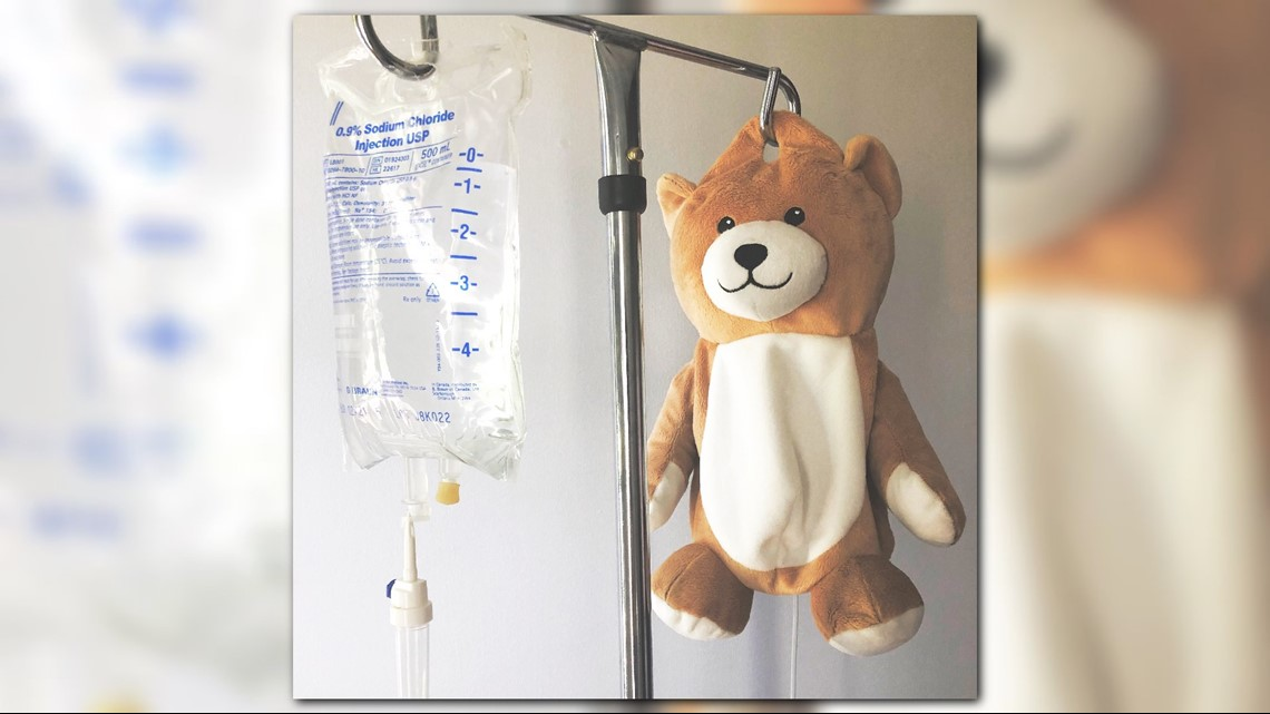 Girl with autoimmune disease creates teddy bears that hide IV bags