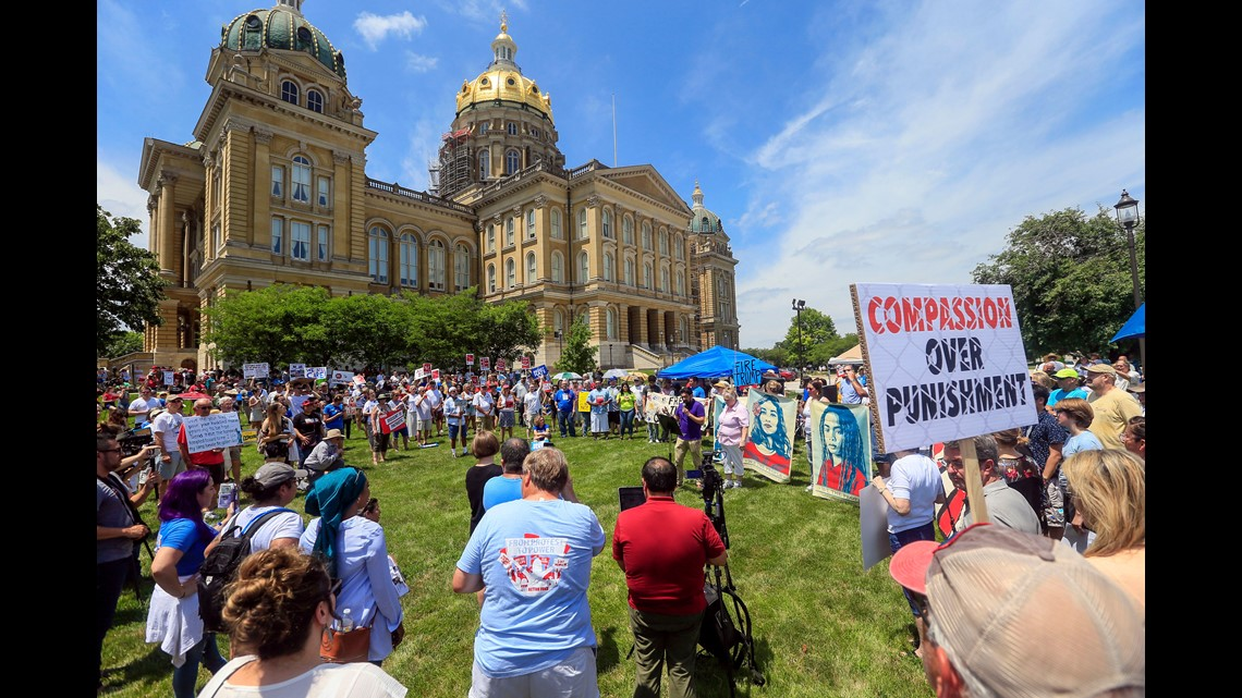 Hundreds attend the Families Belong Together protest at the Iowa State  CapitolSaturday, June 30, 2018.