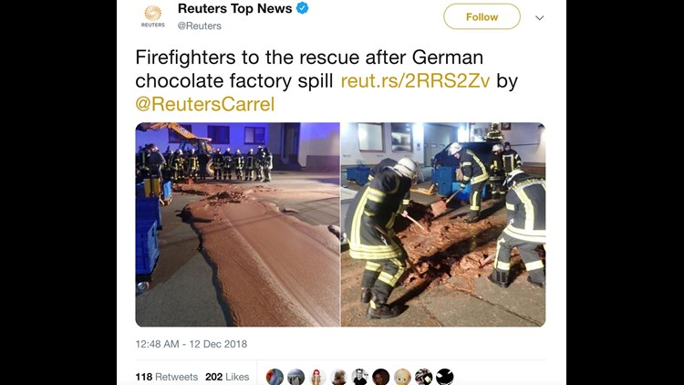 Chocolate flows down German street after factory accident. Willy Wonka couldn't be reached for comment