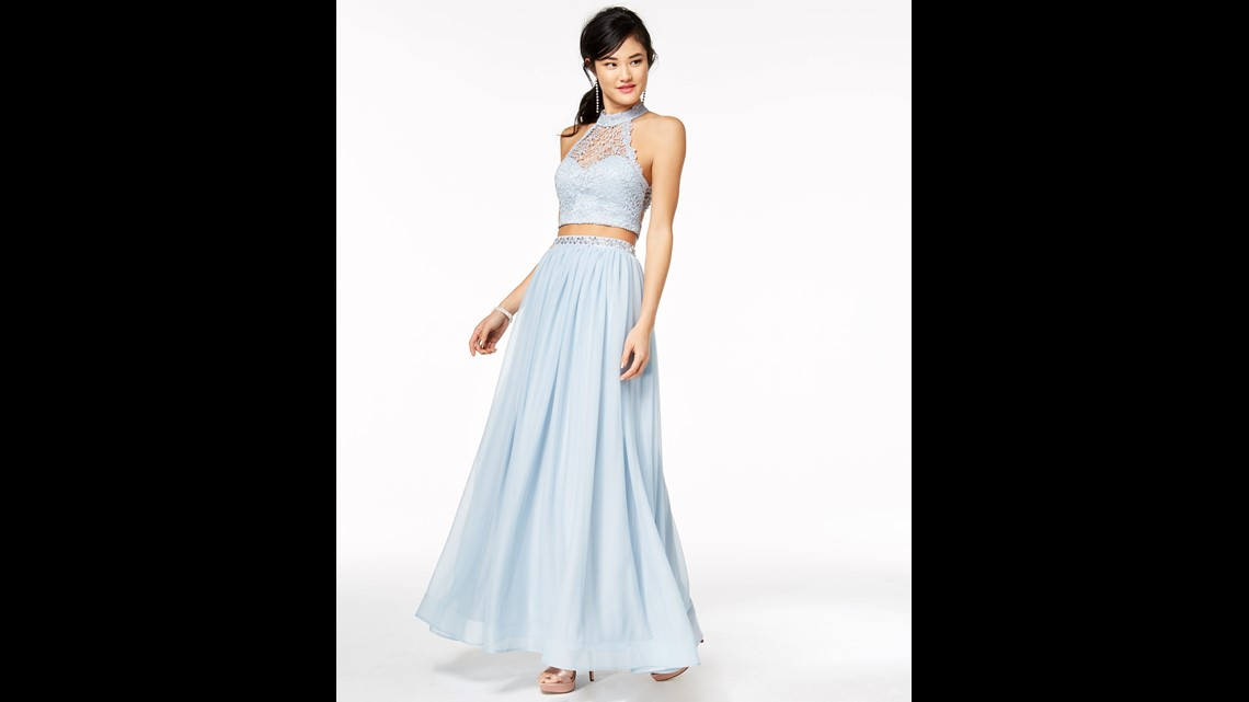 e5db6b4b10 This gown combines both the sequins and two-piece trends