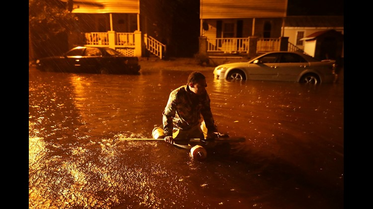 Hundreds of people are awaiting rescue from their homes because of flooding on the Neuse River
