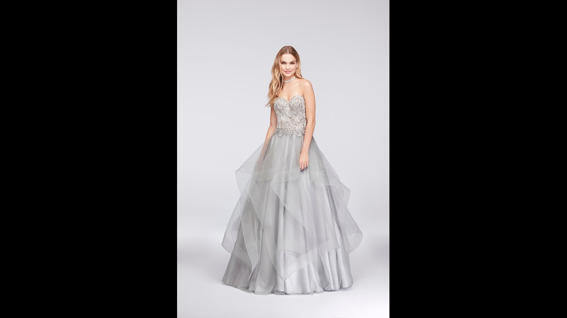 228b907aef Try this ruffle-skirted ball gown from David s Bridal   329.95 on sale for   164.98.