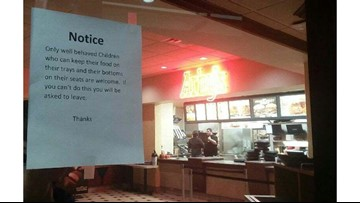Parent questions sign about unruly children at Arby's