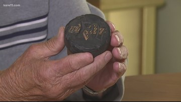 88-year-old on a walk finds hockey puck he lost as a boy
