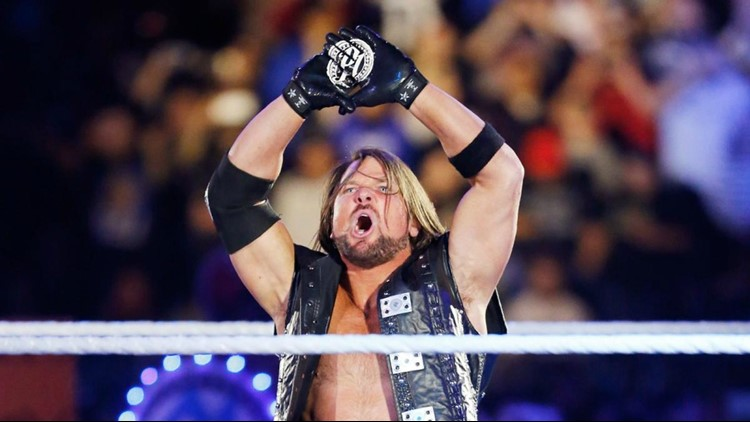 WWE superstar AJ Styles enters the ring at the Royal Rumble before match against John Cena at the Alamodome. Photo courtesy WWE
