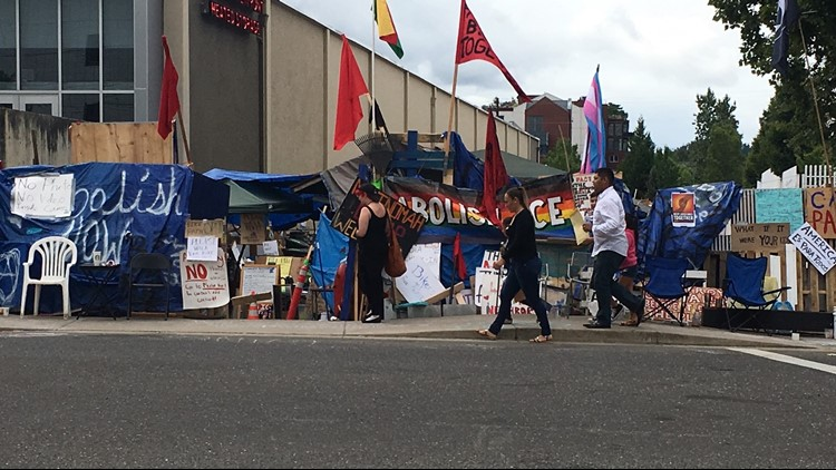 Protesters outside of a Portland ICE detention center July 2, 2018