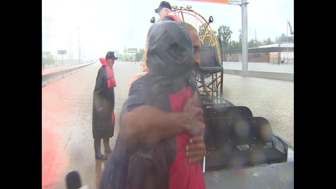 KHOU 11 crew reunites with truck driver rescued during Hurricane Harvey