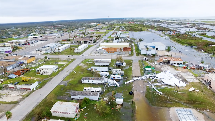 KIII 3 News drone footage of the incredible damage seen Sunday, Aug. 27, in Aransas Pass, Texas, after Hurricane Harvey came ashore.