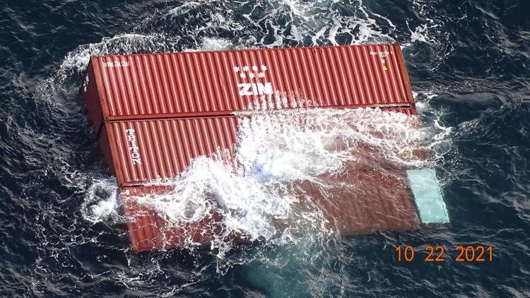 Rough seas knock 40 shipping containers off cargo ship near Strait of Juan de Fuca