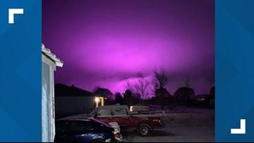Medical marijuana farm lights create purple hazy sky over Arizona