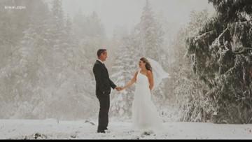 'Magical winter wonderland': Weekend snowstorm makes beautiful wedding backdrops