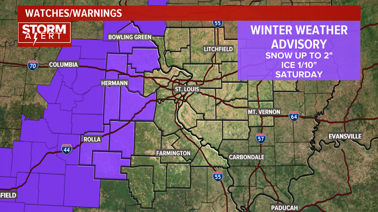 Winter Weather Advisory for western counties