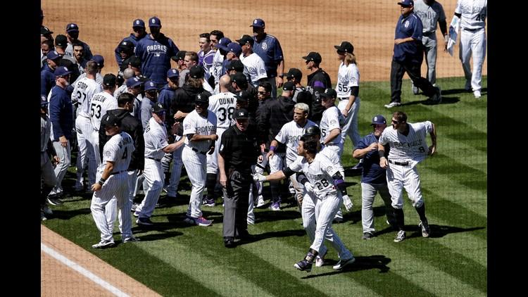 Bench-clearing brawl in Rockies-Padres game showcases Nolan Arenado's fabulous hair