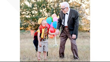 5-year-old poses with great grandparents for 'Up'-themed photo shoot