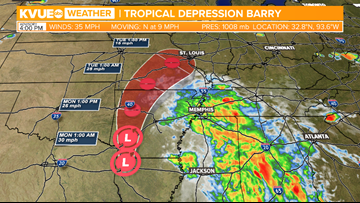 Barry downgraded to a tropical depression as flood threat continues