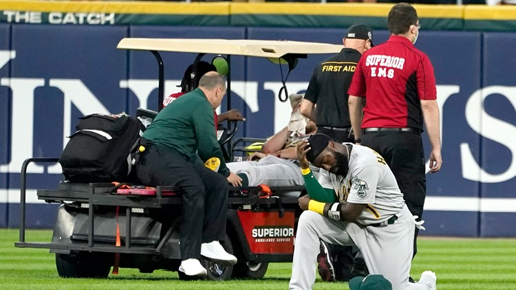 Athletics pitcher Chris Bassitt carted off field after being struck in head by line drive