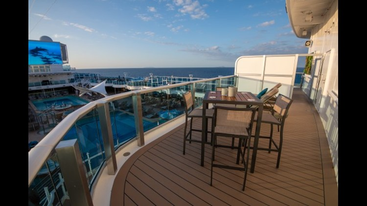Sky Suites feature a giant wraparound balcony that overlooks the main pool area of Sky Princess.(Photo by Gene Sloan / The Points Guy.)
