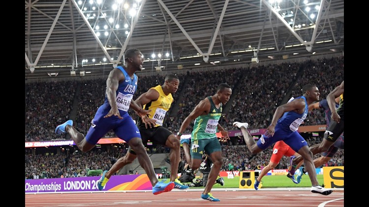 Aug 5, 2017; London, United Kingdom; Justin Gatlin (USA) celebrates after winning the 100m in 9.92 during the IAAF World Championships in Athletic at London Stadium at Queen Elizabeth Park.