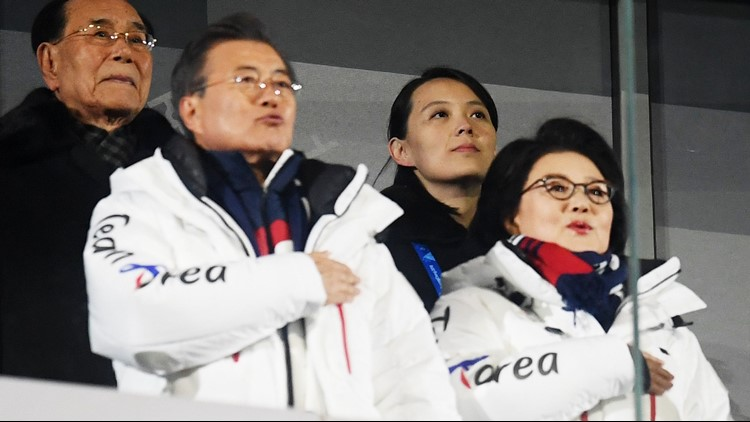 Kim Yo-jong sits behind South Korea president, Moon Jae-in during the Opening Ceremony of the PyeongChang 2018 Winter Olympic Games at PyeongChang Olympic Stadium on February 9, 2018 in Pyeongchang-gun, South Korea.