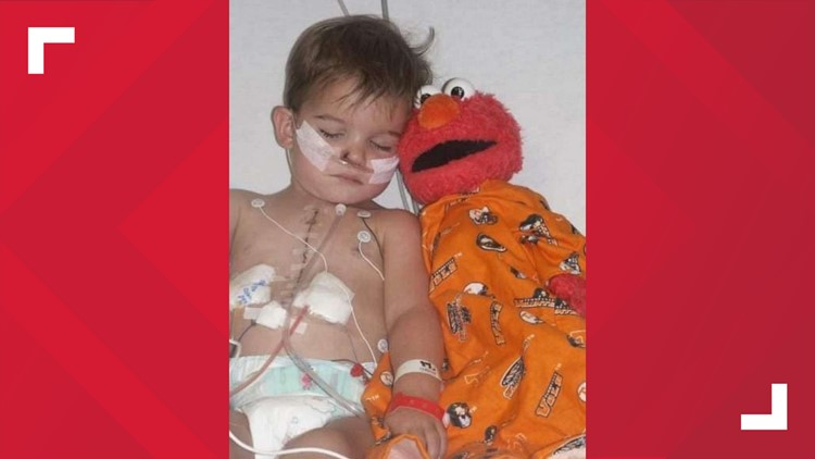 "Tucker and ""Melmo"" during on of his surgeries in the hospital"
