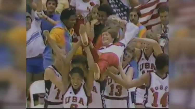 Pat Summitt is carried off the floor by her players at the 1984 Olympics in Los Angeles. The U.S. won the gold medal under Summitt.