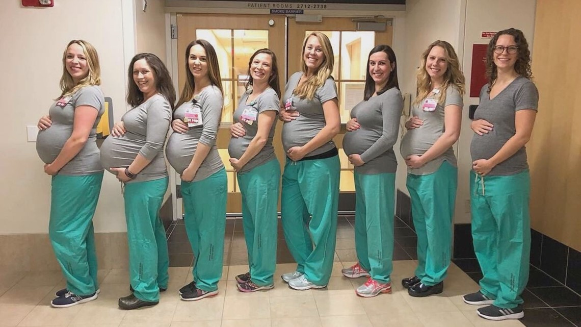 Stork sets up shop at hospital with nine pregnant nurses