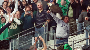 Bald eagle goes rogue, lands on Notre Dame fan before Cotton Bowl kickoff