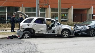 Shooting suspect causes Cleveland crash: 2 arrested, 7 in hospital
