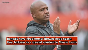 Cleveland Browns S Damarious Randall reacts to Cincinnati Bengals hiring Hue Jackson