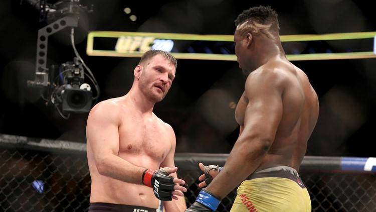 Stipe Miocic, Francis Ngannou shake hands after UFC 220 fight