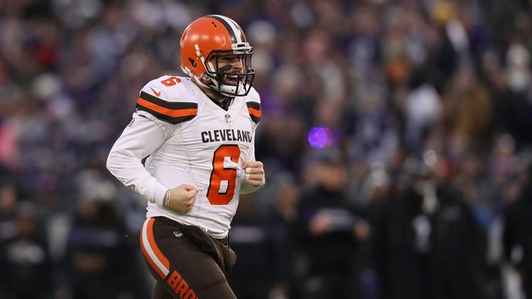 Cleveland Browns QB Baker Mayfield celebrates TD vs. Baltimore Ravens