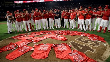 Watch: L.A. Angels pay tribute to Tyler Skaggs, honor him with combined no-hitter