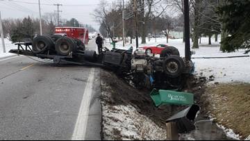 Crash, fuel spill closes road in Hinckley