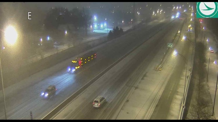 I-76 at Bowery in Akron snowy road conditions February 7, 2020