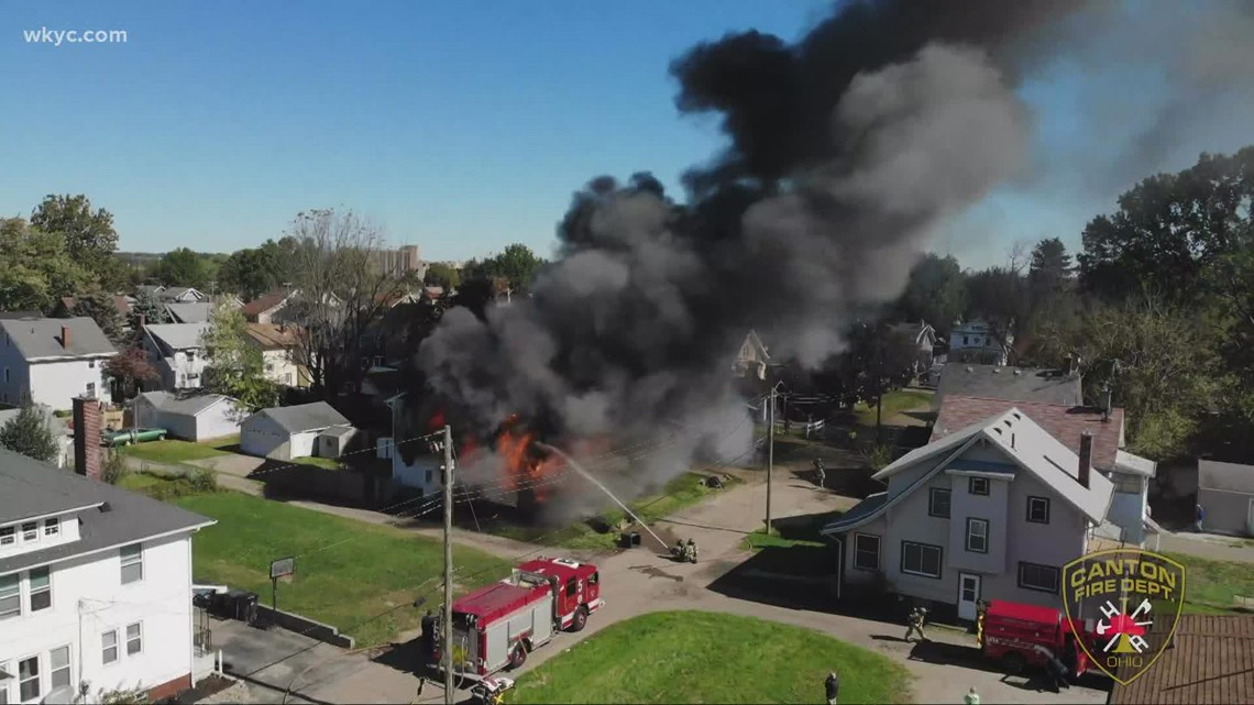 Drone video captures fatal fire in Canton