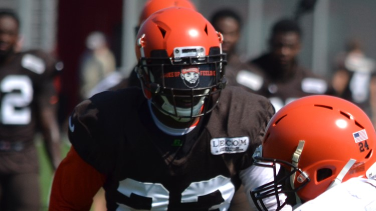 Cleveland Browns DB Damarious Randall Baker Mayfield-themed visor