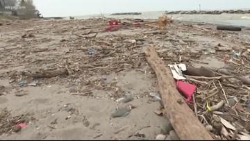 Severe weather waves scatter debris along Lake County shore