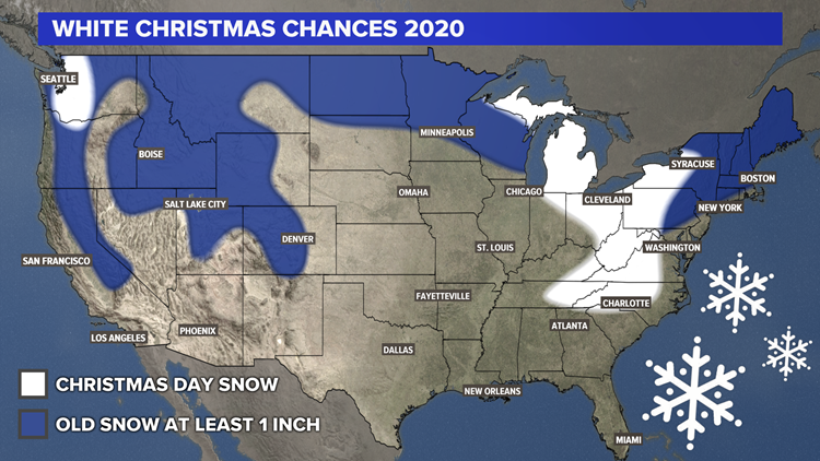 Chances For A White Christmas 2021 White Christmas 2020 Who Has The Best Chance This Year Wkyc Com