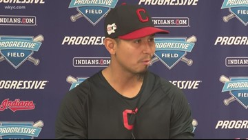 Indians pitcher Carlos Carrasco speaks with media in the aftermath of leukemia diagnosis