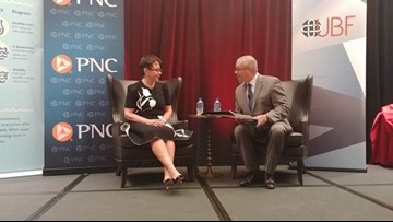 Russ Mitchell moderates a fireside chat with philanthropist Sheila Johnson