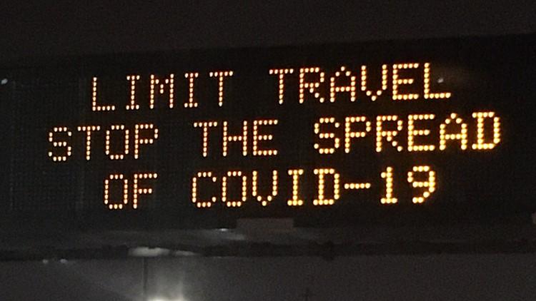 Limit travel stop spread of coronavirus COVID-19 ODOT road sign