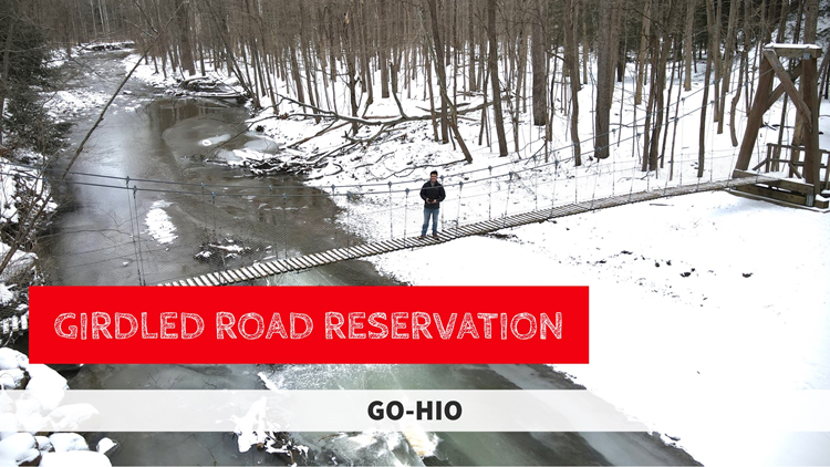 GO-HIO | Crossing the suspension bridge at the Girdled Road Reservation